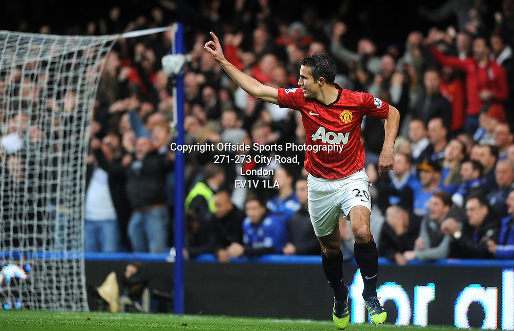 28/10/2012 - Barclays Premier League Football - 2012-2013 - Chelsea v Manchester United - Robin Van Persie Celebrates after he scores the first goal of the game fo United.. - Photo: Charlie Crowhurst / Offside.