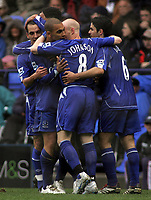 Photo: Paul Thomas.<br /> Bolton Wanderers v Everton. The Barclays Premiership. 09/04/2007.<br /> <br /> James Vaughan (22) and Everton celebrate his goal.
