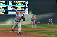 Justin Verlander #35 of the Detroit Tigers pitches during a game against the Minnesota Twins on September 29, 2012 at Target Field in Minneapolis, Minnesota.  The Tigers defeated the Twins 6 to 4.  Photo: Ben Krause