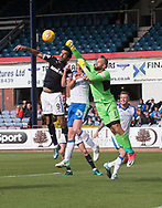 16th September 2017, Dens Park, Dundee, Scotland; Scottish Premier League football, Dundee versus St Johnstone; St Johnstone goalkeeper Alan Mannus punches the ball off the head of Dundee's Sofien Moussa