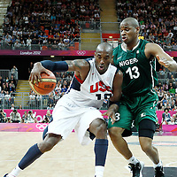 02 August 2012: Nigeria Derrick Obasohan defends on USA Kobe Bryant during 156-73 Team USA victory over Team Nigeria, during the men's basketball preliminary, at the Basketball Arena, in London, Great Britain.