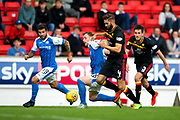 Partick Thistle defender Jordan Turnbull (#4) wins the ball from St Johnstone midfielder Liam Craig (#26) during the Betfred Scottish Cup match between St Johnstone and Partick Thistle at McDiarmid Stadium, Perth, Scotland on 8 August 2017. Photo by Craig Doyle.