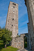 The old San Quirico church tower in Minusio, Ticino, Southern Switzerland.