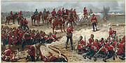 Lieutenant-General Garnet Wolseley (later Viscount Wolseley) 1833-1913, directing battle of Tel-el-Kebir, 13 September 1882 at end of Egyptian expedition crushing Arabi Pasha's revolt. Chromolithograph 1887