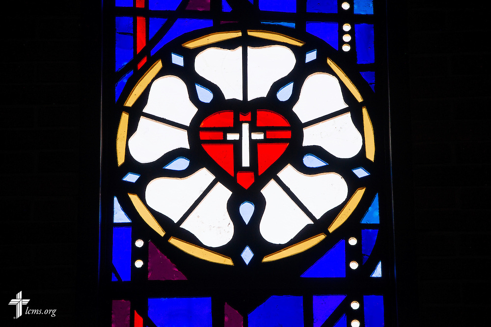 Stained glass featuring the Luther rose on Sunday, Nov. 22, 2015, at Salem Lutheran Church in Springdale, Ark. LCMS Communications/Erik M. Lunsford