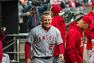Mike Trout #27 of the Los Angeles Angels smiles in the dugout before a game against the Minnesota Twins on April 16, 2013 at Target Field in Minneapolis, Minnesota.  The Twins defeated the Angels 8 to 6.  Photo: Ben Krause
