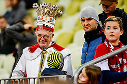"November 15, 2018 - Gdansk, Poland, Old polish supporter with crown ""King of Poland"" during football friendly match between Poland - Czech Republic at the Stadion Energa in Gdansk, Poland"
