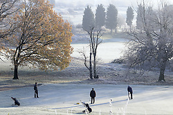 © Licensed to London News Pictures. 12/12/2012.Ice and freezing temperatures across the south east and Kent today (12.12.12)..Golfers at Orpington Golf Centre in Kent brave the freezing temperatures this morning (12.12.12) for the love of the game..Photo credit : Grant Falvey/LNP