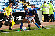 Carlisle United Defender Brandon Comley and Mansfield Town Midfielder Matty Blair battle for the ball during the Sky Bet League 2 match between Carlisle United and Mansfield Town at Brunton Park, Carlisle, England on 9 April 2016. Photo by Craig McAllister.