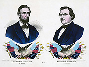 Republican campaign banner for the 1864 US Presidential election. Abraham Lincoln, the Presidential candidate, left, and his Vice- President Andrew Johnson. Hand-coloured wood engraving.
