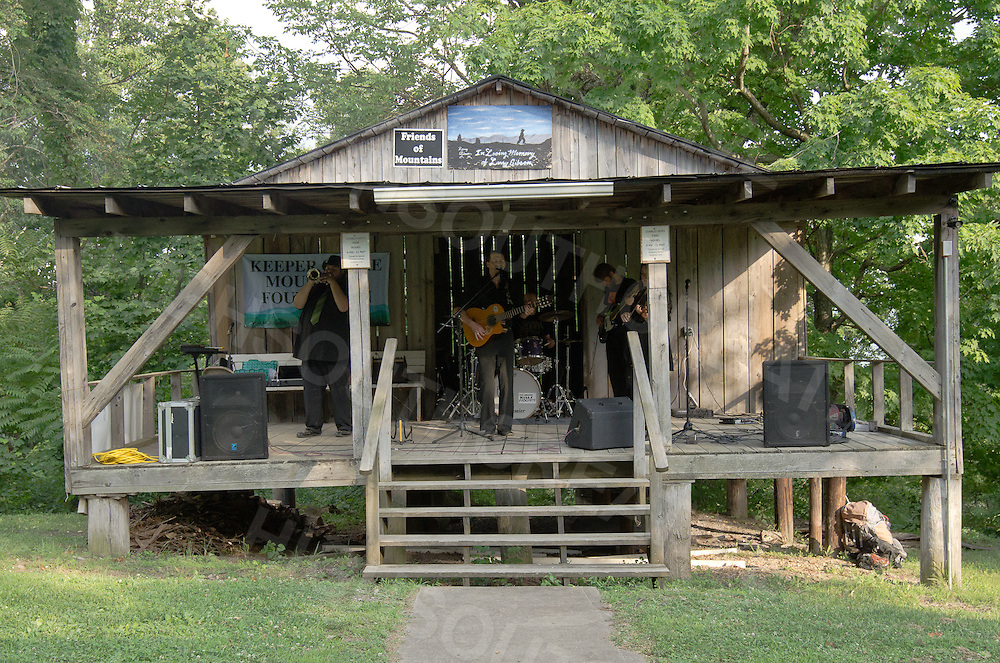 The cabin stage beside the camping area of Stanley Heirs Park on Kayford Mountain, West Virginia.