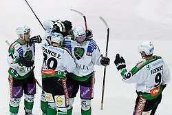 Team HDD Tilia Olimpija celebrate goal during ice-hockey match between HK Acroni Jesenice and HDD Tilia Olimpija in fourth game of Final at Slovenian National League, on April 8, 2011 at Dvorana Podmezaklja, Jesenice, Slovenia. (Photo By Matic Klansek Velej / Sportida.com)