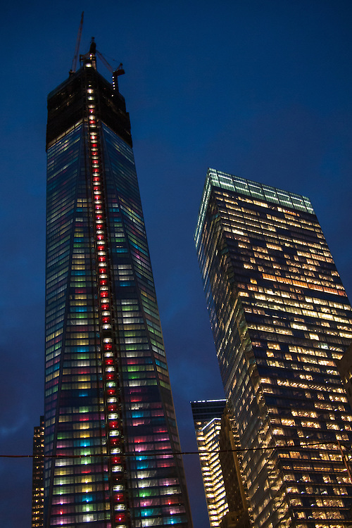 1 World Trade Center under construction, lit with holiday lights, viewed from Church Street.