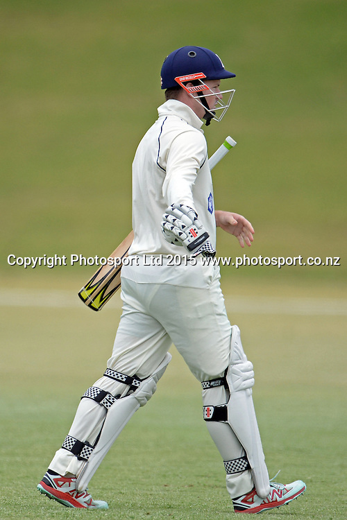 Auckland batsman Colin Munro walks back after getting out. Plunket Shield. 4 Day match between Auckland and Northern Districts at Colin Maiden Park in Auckland. New Zealand. Sunday 08 February 2015. Copyright Photo: Raghavan Venugopal/www.photosport.co.nz
