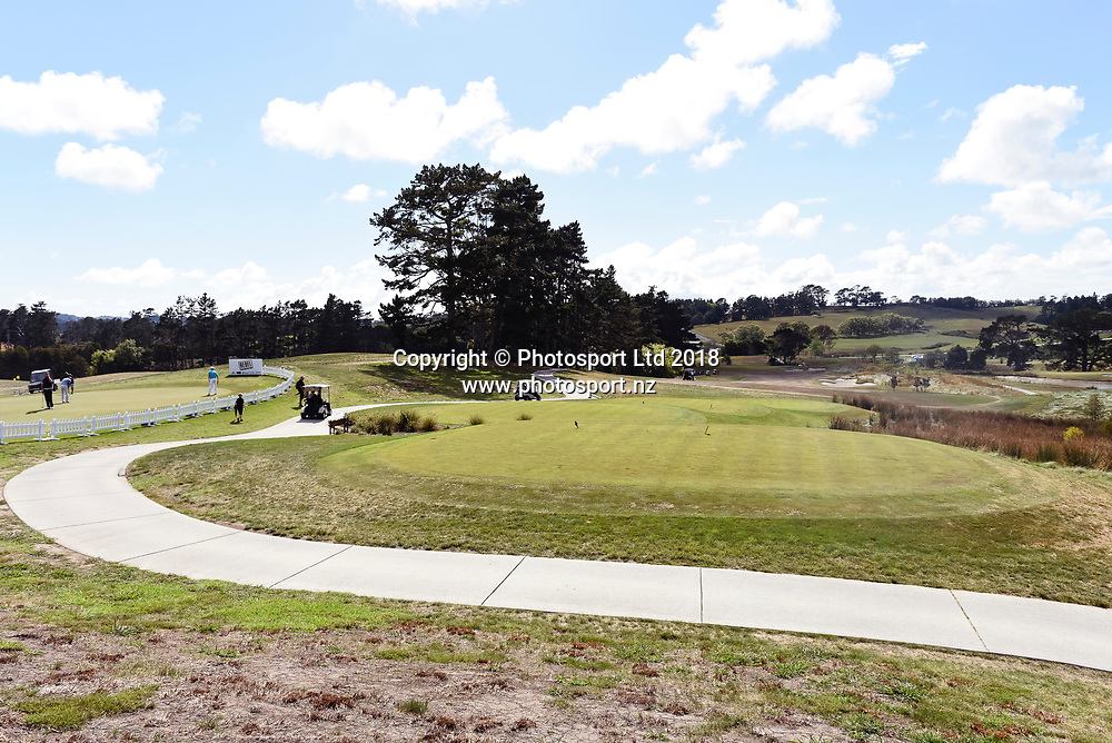 Wainui Golf Course general view, 1st tee.<br /> NZ Rebel Sports Masters, Wainui Golf Club, Wainui, Auckland, New Zealand. 14 January 2018. &copy; Copyright Image: Marc Shannon / www.photosport.nz.
