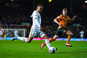 Leeds United forward Helder Costa (17) forces a Hull City defender Jordy de Wijs (4) own goal to make the score 1-0 during the EFL Sky Bet Championship match between Leeds United and Hull City at Elland Road, Leeds, England on 10 December 2019.