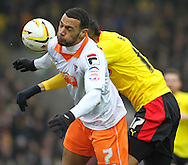 Picture by David Horn/Focus Images Ltd +44 7545 970036.09/03/2013.Matthew Briggs of Watford (right).and Matt Phillips of Blackpool during the npower Championship match at Vicarage Road, Watford.