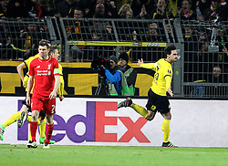 Mats Hummels of Borussia Dortmund celebrates scoring a goal - Mandatory by-line: Robbie Stephenson/JMP - 07/04/2016 - FOOTBALL - Signal Iduna Park - Dortmund,  - Borussia Dortmund v Liverpool - UEFA Europa League Quarter Finals First Leg