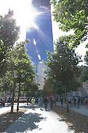 Sunlight gracing the 9/11 Memorial