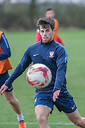 York City midfielder, on loan from Tottenham Hotspur, Kenny McEvoy  York City FC Training Session at Bootham Crescent, York, England on 27 November 2015. Photo by Simon Davies.