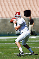 21 August 2008: QB #19 Chris McCaffery of the  USC Trojans Pac-10 NCAA College football team final intrasquad scrimmage of fall camp in front of 8,000 fans in the Los Angeles Memorial Coliseum near school campus.  White team (1st and 2nd teamers) defeated the Cardinal (reserves) team 28-7 on Thursday.