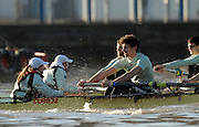 Putney, Great Britain, Both crews racing towards the Putney Hard, during the 2007 Cambridge University Trial Eights, One Night Stand, closest, just a few feet down to  'True Love'. Course, Putney to Mortlake  11/12/2007 [Mandatory Credit Peter Spurrier/Intersport Images]..CUBC. .One Night Stand. Stroke Dave Billings, Cox, Rebecca DOWBIGGIN. , Rowing Course: River Thames, Championship course, Putney to Mortlake 4.25 Miles, , Varsity Boat Race.
