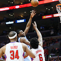 24 February 2016: Denver Nuggets forward Kenneth Faried (35) goes for the baby hook over Los Angeles Clippers center DeAndre Jordan (6) during the Denver Nuggets 87-81 victory over the Los Angeles Clippers, at the Staples Center, Los Angeles, California, USA.