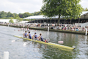 Henley, Great Britain.  Henley Royal Regatta. M4+, Banks Rowing Club, AUS [Bucks], lead Radley Mariners [Berks], past the Grandstands, in the semi-final, of the Britannia Challenge Cup. River Thames Henley Reach.  Royal Regatta. River Thames Henley Reach.  Saturday  02/07/2011  [Mandatory Credit  Intersport Images] . HRR