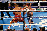 Kid Galahad attempts a jab during the IBF World Featherweight Championship between Josh Warrington and Kid Galahad at First Direct Arena, Leeds, United Kingdom on 15 June 2019.