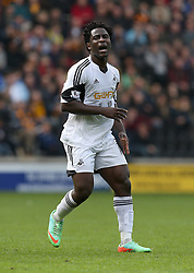Swansea's Wilfried Bony shows his frustration - Photo mandatory by-line: Matt Bunn/JMP - Tel: Mobile: 07966 386802 05/04/2014 - SPORT - FOOTBALL - KC Stadium - Hull - Hull City v Swansea City- Barclays Premiership