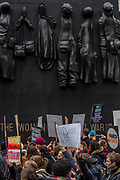Passing the Women of World war 2 memorial In Whitehall  - #March4Women 2018, a march and rally in London to celebrate International Women's Day and 100 years since the first women in the UK gained theright to vote.  Organised by Care International the march stated at Old Palace Yard and ended in a rally in Trafalgar Square.