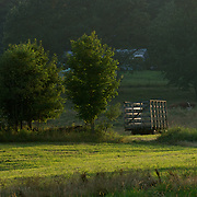hay field and wagon in Pepperell MA