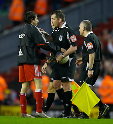 LIVERPOOL, ENGLAND - Saturday, January 26, 2008: Liverpool's hat-trick hero Yossi Benayoun tries to get his match-ball from an uncooperative referee Phil Dowd after the FA Cup 4th Round match against Havant and Waterlooville at Anfield. (Photo by David Rawcliffe/Propaganda)