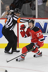 Nov 2; Newark, NJ, USA; New Jersey Devils right wing David Clarkson (23) celebrates his goal during the second period at the Prudential Center.