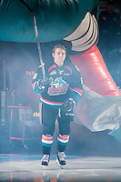 KELOWNA, CANADA - SEPTEMBER 24: Jonathan Smart #6 of the Kelowna Rockets enters the ice against the Kamloops Blazers  on September 24, 2016 at Prospera Place in Kelowna, British Columbia, Canada.  (Photo by Marissa Baecker/Shoot the Breeze)  *** Local Caption *** Jonathan Smart;