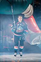 KELOWNA, CANADA - SEPTEMBER 24: Jonathan Smart #6 of the Kelowna Rockets enters the ice against the Kamloops Blazers  on September 24, 2016 at Prospera Place in Kelowna, British Columbia, Canada.  (Photo by Marissa Baecker/Shoot the Breeze)  *** Local Caption *** Jonathan Smart;