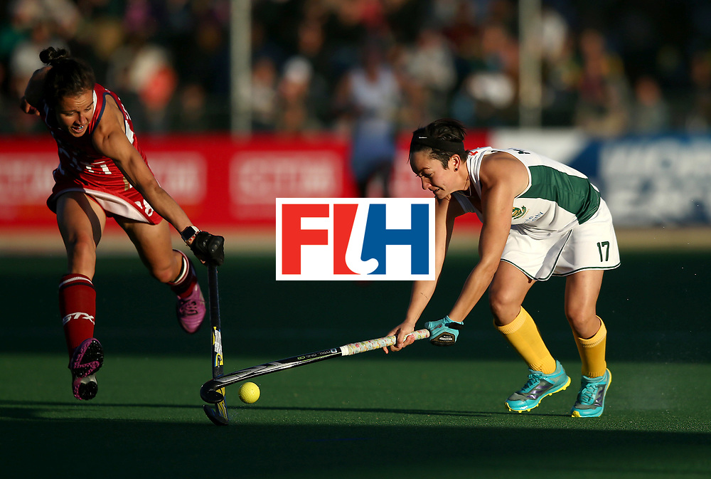 JOHANNESBURG, SOUTH AFRICA - JULY 16:  Candice Manuel of South Africa battles with Caitlin van Sickle of United States of America during day 5 of the FIH Hockey World League Women's Semi Finals Pool B match between South Africa and United States of America at Wits University on July 16, 2017 in Johannesburg, South Africa.  (Photo by Jan Kruger/Getty Images for FIH)