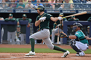 PEORIA, AZ - MARCH 05:  Adam Rosales #16 of the Oakland Athletics at bat against the Seattle Mariners during the spring training game at Peoria Stadium on March 5, 2017 in Peoria, Arizona.  (Photo by Jennifer Stewart/Getty Images)