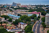 Liberia Road & Independence Square (background along water)