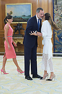 King Felipe VI of Spain, Queen Letizia of Spain, Ona Carbonell during an audience at Zarzuela Palace on July 23, 2019 in Madrid, Spain