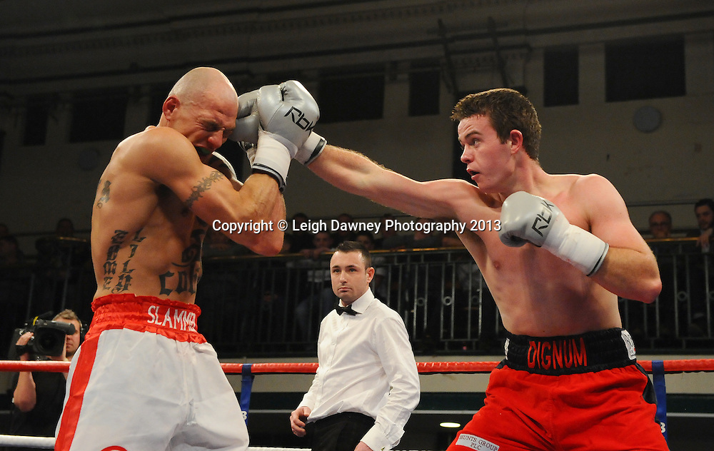John Dignum defeats Kieron Gray at York Hall, Bethnal Green, London, UK on the 21st March 2013. Frank Warren Promotions. © Leigh Dawney Photography 2013.