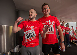 © Licensed to London News Pictures. 03/03/2015.  London.  Singer Shayne Ward and Home Show presenter and architect George Clarke joined hundreds of runners today as they climbed 42 floors and 932 steps at Tower 42 as part of Shelters Vertical Rush charity event.      Photo credit : Alison Baskerville/LNP
