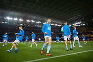 MELBOURNE, VIC - OCT 20: Melbourne City during warmup at the Hyundai A-League Round 1 soccer match between Melbourne Victory and Melbourne City FC at Marvel Stadium in Melbourne.