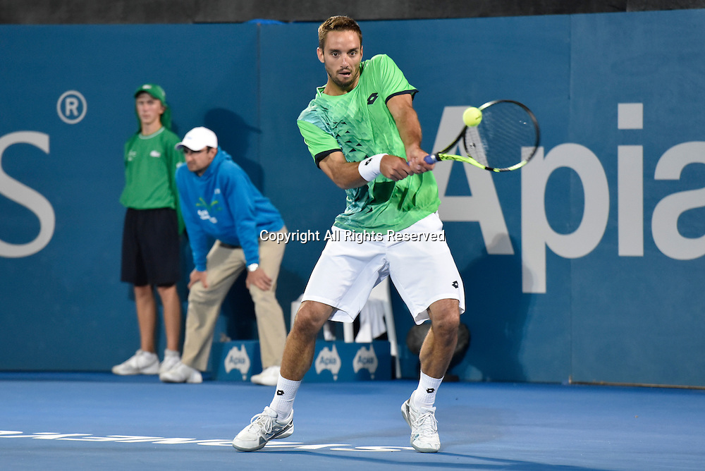 16.01.16 Sydney, Australia. Viktor Troicki (SRB) in action against Grigor Dimitrov (BUL) during their mens singles final match at the Apia International Sydney. Troicki won the final 2-6,6-1,7-6.