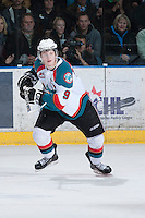 KELOWNA, CANADA - JANUARY 24:  Zack Franko #9 of the Kelowna Rockets skates on the ice against the Seattle Thunderbirds at the Kelowna Rockets on January 24, 2013 at Prospera Place in Kelowna, British Columbia, Canada (Photo by Marissa Baecker/Shoot the Breeze) *** Local Caption ***