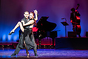 Tango Fire_Peacock Theatre, London <br /> <br /> <br /> Tango Fire returns for their seventh season to the Peacock Theatre, London. <br /> <br /> Starring Argentinean tango superstars German Cornejo and Gisela Galeassi and a cast of extraordinary tango dancers, this is a fiery and explosive journey through the history of authentic Argentine tango. ' Derecho Viejo' featuring German Cornejo and Gisela Galeassi.<br /> © Tony Nandi 2019