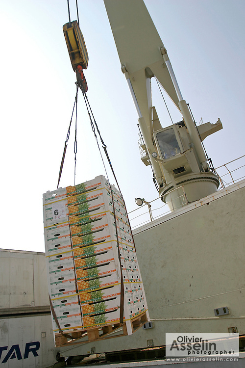 Crane loading pineapples crates onto cargo boat.