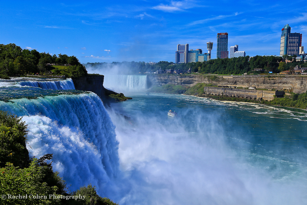 &quot;Beauty of Niagara Falls&quot;<br /> <br /> Gorgeous powerful scene of both the American and Canadian side of Niagara Falls with a bonus of the boat Maid of the Mist in the center of the frame!<br /> <br /> Waterfalls by Rachel Cohen