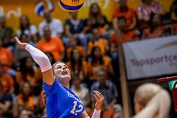 26-08-2017 NED: World Qualifications Netherlands - Slovenia, Rotterdam<br /> De Nederlandse volleybalsters plaatsten zich eenvoudig voor het WK volgend jaar in Japan. Ook Sloveni&euml; wordt met 3-0 verslagen / Katja Mihalinec #12 of Slovenia