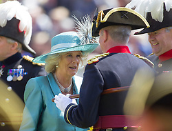 LONDON - UK - 6 JUNE 2013: Britain's Camilla, HRH The Duchess of Cornwall visits the Royal Hospital Chelsea to review the Founders Day Parade. The Duchess toured the Margaret Thatcher Infirmary and meet groups of In-Pensioners and staff before taking the salute at the Founders Day Parade at the Royal Hospital Chelsea.<br /> Photograph  by Ian Jones Photography.